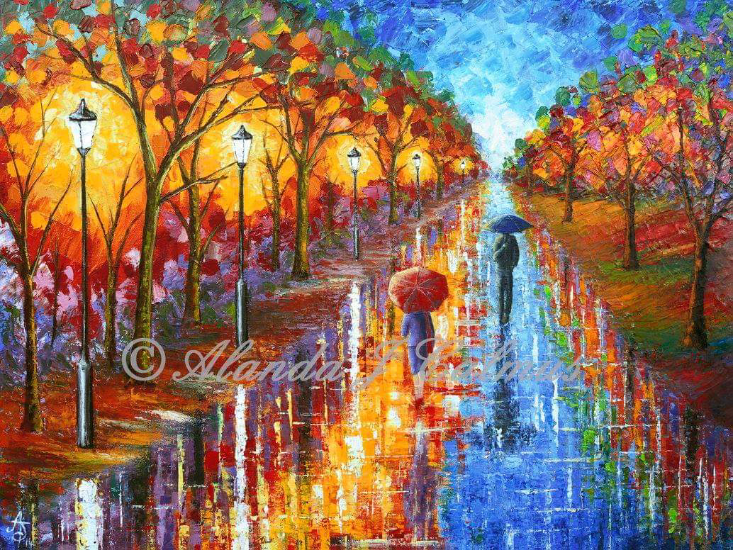 A Passing Glance, couple with umbrellas Signed and Mounted Print by Alanda Calmus
