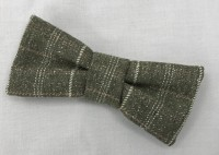 Dog Bow Tie -  Mossy Green with White stripe