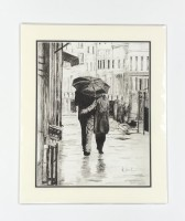Walking in the Rain a print of a charcoal drawing