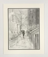 Charcoal drawing of New York in the snow