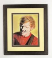 Pastel painting of Ed Sheeran singing.
