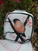 Twin Mirrored Compact. Bullfinch and Blossom