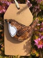Handmade Felt & Fabric Wren Brooch