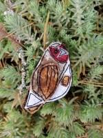 Handmade Felt & Fabric Partridge Brooch