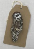 Handmade Felt & Fabric Barn Owl brooch