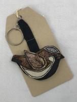 Handmade Felt & Fabric Sparrow Keyring