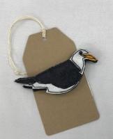 Handmade Felt & Fabric Black Back Gull Brooch
