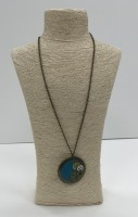 Large blue clay steampunk round pendant.