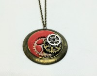Rust clay steampunk large round pendant.