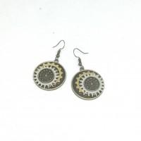 Round drop steampunk earrings.