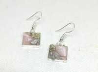 Pink crystal & shell square earrings.
