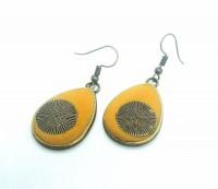 Antique bronze teardrop clay earrings.