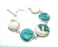 Blue glass and Clay Bracelet.