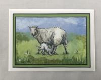 Ewe & lamb 5x7 greetings card