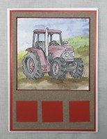 Red tractor 5x7 greetings card