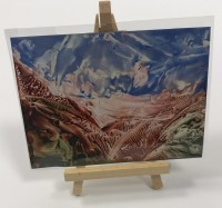Encaustic Art Picture in Mini Easel -  Pink and blue