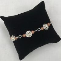 Hand-made Silver Rose with Sunstone Bracelet
