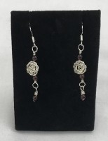 Hand-made Silver Rose with Garnet Earrings
