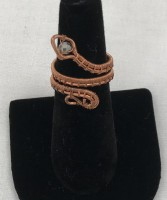Copper Wire-Wrapped Snake Ring