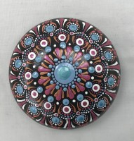 Art stone, hand painted Mandala design in Pink and blue with display stand