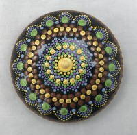 Art stone - Brown mandala with stand