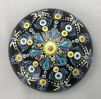 Art stone, lilac and blue, hand painted mandala design with display stand.