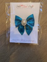 Teal Glitter Pinch Bow with Gem