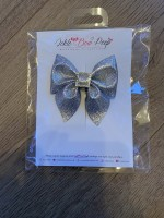 Silver Glitter Pinch Bow and Gem