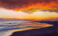 Romantic Setting Sunset Couple 16x20in Signed Mounted Print by Alanda Calmus