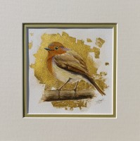Robin with Gold Leaf Original Mixed Media Mounted Bird Painting by Alanda Calmus