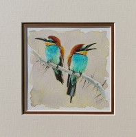 Don't Worry, Bee Happy! Bee Eater Birds Original Mixed Media Mounted Painting by Alanda Calmus