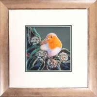 Bobbing on a Sea of Green - Robin Original Framed Pastel Bird Painting by Alanda Calmus