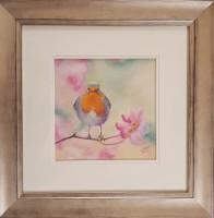 Bauble in the Blossom - Robin Original Framed Pastel Bird Painting by Alanda Calmus