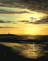 Lemony Lighthouse, Covesea Lighthouse Sunset, Lossiemouth 12x16in Signed Mounted Print by Alanda Calmus