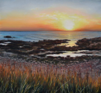 Sundown Serenity 50x50cm Signed Mounted Sunset Print by Alanda Calmus