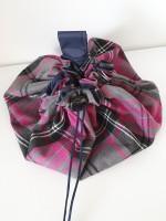 Drawstring Makeup bag - pink/grey tartan