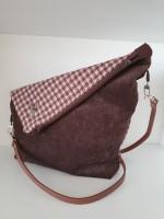 Asymmetrical bag - brown houndstooth