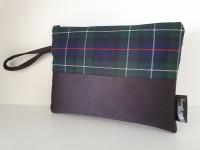Clutch bag - navy/grn/red tartan
