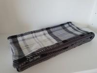 Fleece lined scarf - slim - grey tartan