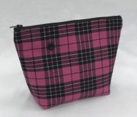 Medium cosmetic bag - pink/gold tartan