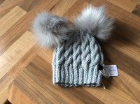 Grey sparkle hat, faux fur pompoms