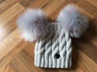 Grey cable hat, faux fur pompoms