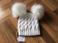 White cable hat, faux fur pompoms