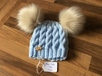 Blue cable hat faux fur pompoms