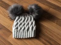 Grey hat dark grey pompoms